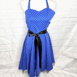Vintage 1980's Blue Polkadot  Dress Hearts & Roses